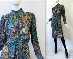 1980's Leonard Floral Metallic Silk Jersey Dress w Belt   Made in Italy   Medium