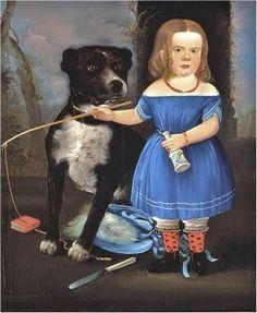 William Matthew Prior, (American artist, 1806-1873) Little Child with Big Dog 1848 (Prior-Hamblin School)