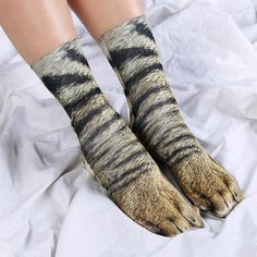 Have you ever dreamed of taking a walk on the wild side? Well, now you can, thanks to these funky, Animal Paws Socks! Turn your feet into animal paws and you'll be walking on the wild side in your own home! These adorable, animal print socks are made from Dog Socks, Funny Socks, Crew Socks, Socks Men, Sock Animals, Animals For Kids, Animal Print Socks, Estilo Indie, Joke Gifts
