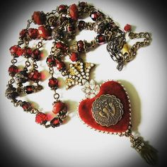Ex Voto Heart Necklace Sacred Heart Pendant by PersephonesBijoux