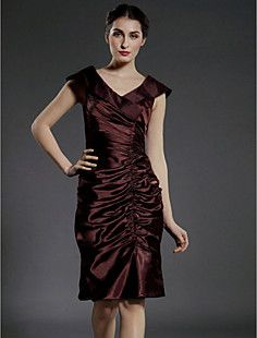 Sheath/Column V-neck Knee-length Stretch Satin Mother of the... – CAD $ 145.47