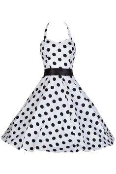 White and Black Polka Dot Prom Swing Dress