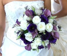 Fall Spring Summer Winter Purple White Bouquet Wedding Flowers Photos & Pictures - WeddingWire.com