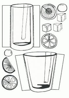 Bardak Kalıbı. Glass printables. Molde del taza.чашка.