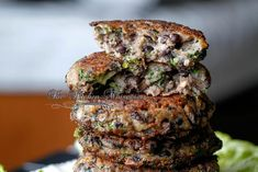 The Best Damn Veggie Burger. This burger is packed full of veggies and seasonings that makes it taste like a real beef burger! Whether you're a vegetarian or a carnivore you'll love this burger! Mushroom Veggie Burger, Black Bean Veggie Burger, Vegetarian Recipes, Cooking Recipes, Vegetarian Cooking, Vegan Meals, Vegetarian Diets, Vegetarian Barbecue, Paleo Vegan
