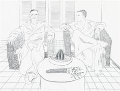 Christopher Isherwood and Don Bachardy, 1976 by David Hockney on Curiator, the world's biggest collaborative art collection. David Hockney Portraits, David Hockney Art, Christopher Isherwood, January Art, Contour Drawing, Pop Art Movement, Ligne Claire, Digital Museum, Collaborative Art