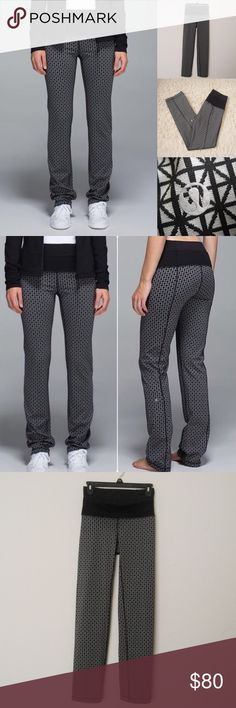 """Lululemon Tri Geo Straight Up Pants LULULEMON ATHLETICA Tri Geo Silver Spoon Straight Up Pants. Size 4. Can be worn 3 ways -waistband up, lower waistband rolled down or tank tucked in to lower waistband. Excellent condition. Worn once. No flaws. Materials: 46% Nylon/34% Polyester/20% Spandex Features: 2 waistband/Luon Fabric/tight-fit, ankle length Measurements (laying flat): • Waist - 25"""" (around)  • Waist Band - 5"""" • Rise - 11"""" • Inseam - 29""""  • Length - 39""""  • Leg Cuff - 7"""" ~❌SWAP❌TRADE…"""