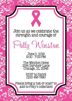 PINK RIBBON Breast Cancer 5x7 Invitation  DIY by PartySoPerfect, $8.00