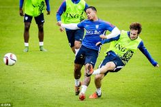 812433133cbc Memphis Depay tussles with Manchester United team-mate Daley Blind during  Holland training on Tuesday