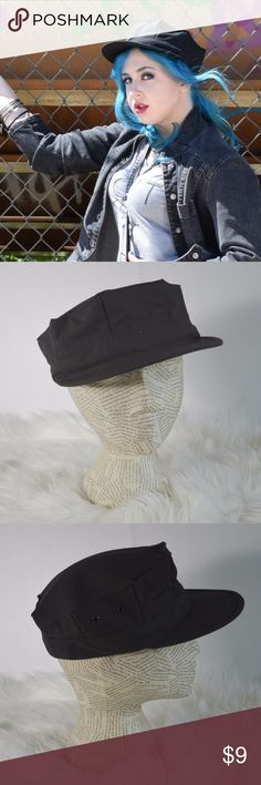 """Trendy Black Military Cap/Hat Show the world you mean business. This military cap is in excellent condition and is a trendy addition to your fall wardrobe. Perfect utility hat for outdoor concerts or window shopping in the city.   Brand: Flying Tigers Size: Large, 22.5"""" Color: Black Fabric: nylon/cotton blend Made in USA Excellent Used Condition  Reasonable Offers Welcome! Bundle and Save on Shipping! Flying Tigers Accessories Hats"""
