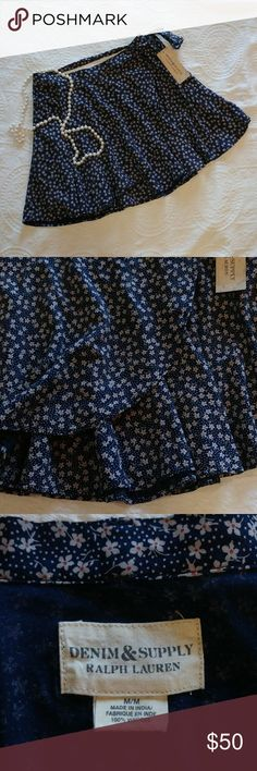 "[RL Demin & Supply] Blue Floral Wrap-Around Skirt This beautiful blue floral skirt from Ralph Lauren Denim & Supply features a wrap around style with a tie back and super cute floral print!  Skirt has a 28"" waist and is 15"" long.   Skirt is New With Tags. Denim & Supply Ralph Lauren Skirts Circle & Skater"