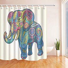 Elephant Shower Curtain Ethnic Oval Motifs Print for Bathroom