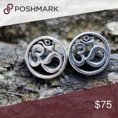 Sterling Silver Round Om Post Earrings meditation Beautiful Om sterling silver post earrings  Size: 10 mm across Jewelry Earrings