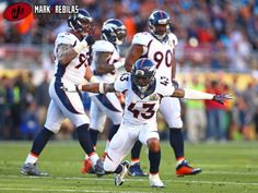 Canon 1Dx, 400mm, 1000iso, f2.8, 1/2000th, Manual Denver Broncos safety T.J. Ward (43) celebrates a play against the Carolina Panthers in Super Bowl 50 at Levi's Stadium. Mandatory Credit: Mark J. Rebilas-USA TODAY Sports