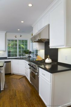 Like The Floor White Cupboards And Black Worktop Kitchen Design Ideas