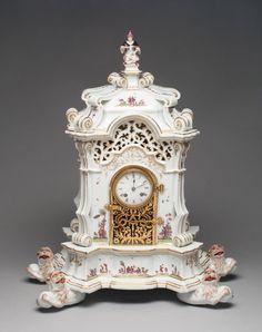 German Meissen Porcelain Manufactory (German, founded 1710) Modeled by George Fritzsche (German, 1681-1709) Painted in the manner of Johann Gregor Höroldt (German, active 1720-56; 1763-65), Clock