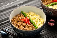 Soboro Donburi | This is the recipe we usually use, with less sugar added to the ground chicken; there is an alternate version of the recipe at  http://justonecookbook.com/blog/recipes/tori-soboro-donburi/#
