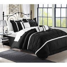Chic Home Vermont 8 Piece Comforter Set - black and white