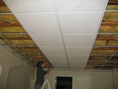 Basement Suspended Ceiling & A great and affordable way to update and ugly discolored drop tile ...