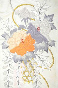 VINTAGE SILK WEDDING FABRIC:Embroidered Wisteria/Tree Peony/Paulownias@H31