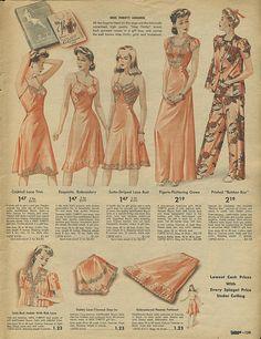 1942 Spiegel Christmas Catalog lingerie pajamas slip tap panties bed jacket night gown pink 40s war era color illustration vintage fashion