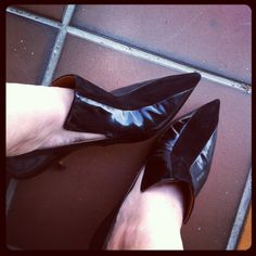 My shoes ... Celine pointy-toed patent and suede kitten heel pumps