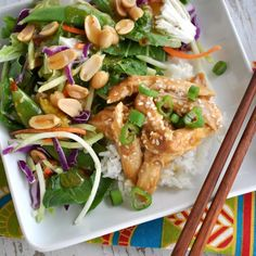 Healthy Slow Cooker Teriyaki Chicken with Ginger Bok Choy Salad Recipe Main Dishes with boneless skinless chicken breasts, maple syrup, fresh orange juice, lower sodium soy sauce, rice vinegar, peeled fresh ginger, dark sesame oil, garlic cloves, cold water, corn starch, sliced green onions, sesame seeds