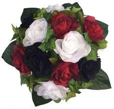 Red, White and Black Silk Rose Round - Artificial Silk Bridal Wedding Bouquet