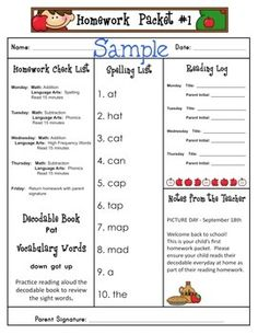 Printable assignment sheet elementary