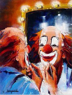 Clown voor de spiegel