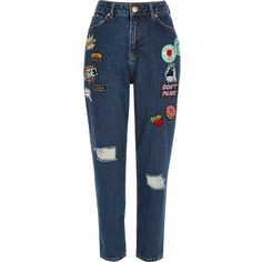 River Island Dark blue wash badge Mom jeans ($64) ❤ liked on Polyvore featuring jeans, bottoms, pants, pantalones, trousers, blue, mom jeans, women, ripped jeans and destructed jeans