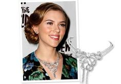 "Scarlett Johansson  Jewelry Accessories: Cleef & Arpels ""Cleita"" series of 404 diamond necklace.  Location: January 24, 2010 New York, The View from the Bridge opening night.  Comments: bibs perfect diamond necklace, showing sexy collarbone lines."