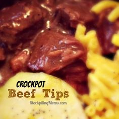 Crockpot Beef Tips and Gravy Recipe is simple to prep and tastes amazing! Crockpot Dishes, Crock Pot Slow Cooker, Crock Pot Cooking, Slow Cooker Recipes, Crockpot Recipes, Freezer Recipes, Freezer Cooking, Beef Dishes, Beef Tip Recipes