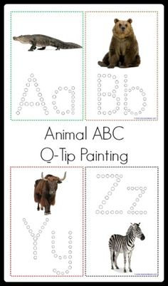 Animal ABC Q-Tip Painting Printables  from @{1plus1plus1} Carisa {included with the Animal ABC Bundle or available on Teacher's Notebook}