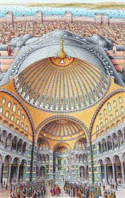sectional view of the Hagia Sophia -hellenic Byzantium and now Istanbul, Turkey - showing how the pendentives and semi-domes support the central dome built architects: Anthemios of Tralles, Isidorus of Miletus Plans Architecture, Historical Architecture, Ancient History, Art History, Hagia Sophia Istanbul, Lost City Of Gold, Byzantine Architecture, Byzantine Art, Ancient Civilizations