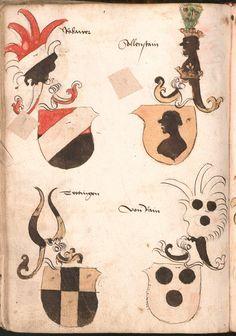 Wernigeroder (Schaffhausensches) Wappenbuch Süddeutschland, 4. Viertel 15. Jh. Cod.icon. 308 n  Folio 168v