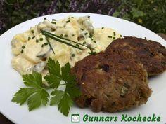 Thunfisch-Frikadellen mit Kartoffelsalat - #Rezept / Tuna Patties with German potato salad