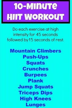 .10 Minute HIIT Workout  | Posted By: AdvancedWeightLossTips.com