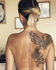 47 Vintage Phoenix Tattoo Design Ideas for Women, Ideas # for ., , 47 vintage phoenix tattoo design ideas for women, ideas Phoenix Tattoo Feminine, Phoenix Back Tattoo, Phoenix Tattoo Design, Feminine Back Tattoos, Phoenix Design, Rising Phoenix Tattoo, Phoenix Bird Tattoos, Tattoo Lower Back, Back Of Shoulder Tattoo