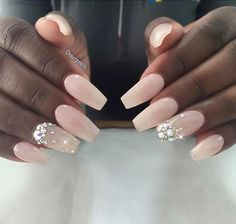 Nude Pink Coffin Nails with Rhinestones