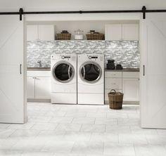 Inspirational tile looks for the laundry room of your dreams! #laundryroom #laundryroomgoals #laundryroomdesign #tiles #tiledesign
