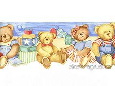 Faixa de Parede Vinílica Contornada Cheeky Monkeys (Americano) - Ursinhos (Azul/ Bege/ Colorido) - COLA INCLUSA