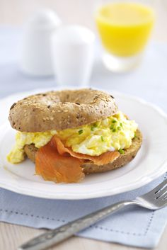 Fancy making these Scrambled Eggs With Smoked Salmon Bagels?   Preparation time: 5 mins   Cooking time: 10 mins    Serves: 2