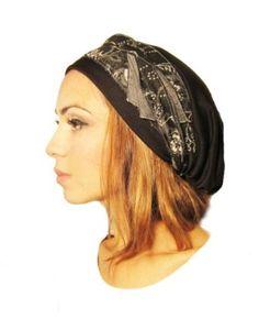 Pre Tied Head Scarf & Tichel Black Jersey Knit Wrap - One Size ShariRose. $24.99