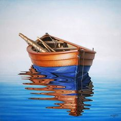 boat on the water | Four-Winds-original-painting-of-a-boat-with-relection-on-a-beautiful ...