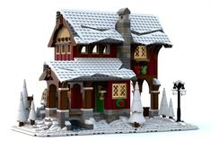 LEGO Winter Village Cider Mill - building instructions and parts list. Lego Christmas Sets, Lego Christmas Village, Lego Winter Village, Noel Christmas, Christmas Train, Christmas Ideas, Lego Moc, Village Lego, Lego Table Ikea
