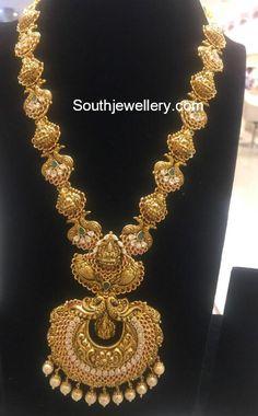 Antique Gold Lakshmi Peacock Haram photo