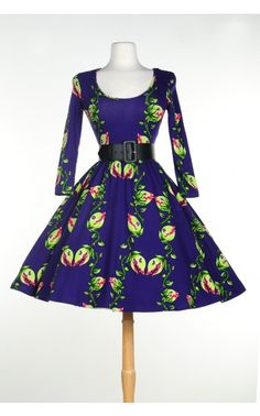 Deadly Dames - Hotrod Honey Swing Dress with faux leather belt in Venus Flytrap Print | Pinup Girl Clothing