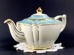 SALE Sadler Vintage Teapot Aqua Banding by TheVintageTeacup