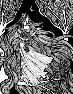 My favorite character from Tolkien's writings Long story short, in the Silmarillion, there's this one part where to keep her from saving her mortal love. Tolkien, Elven Woman, Legolas And Tauriel, Morgoth, Luthien, Nerd Crafts, Fantasy Drawings, Zentangle Drawings, Graphic Design Print